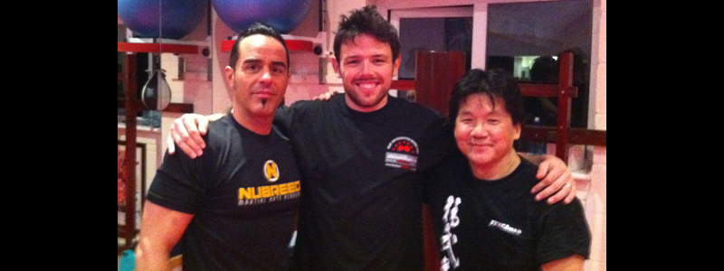 Robin French with Sifu Francis Fong and Sifu Luigi Cuellar