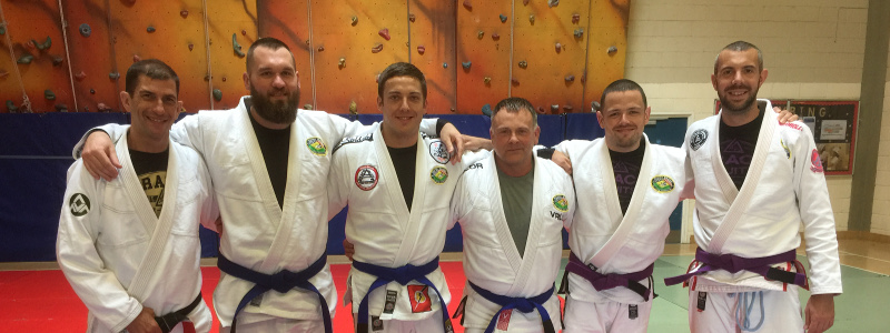 Robin French with Professor Allan Manganello, Peter Squire and Latest Team Pedro Sauer UK Blue Belts - June 2018